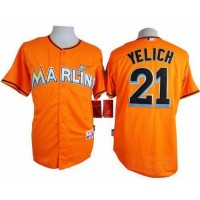 marlins #21 Christian Yelich Orange Cool Base Stitched Baseball Jersey