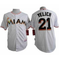 marlins #21 Christian Yelich White Cool Base Stitched Baseball Jersey