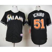 marlins #51 Ichiro Suzuki Black Cool Base Stitched Baseball Jersey