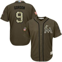 marlins #9 Dee Gordon Green Salute to Service Stitched Baseball Jersey