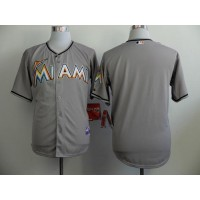 marlins Blank Grey Cool Base Stitched Baseball Jersey