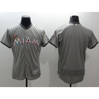 marlins Blank Grey Flexbase Authentic Collection Stitched Baseball Jersey