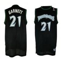 Timberwolves #21 Retro Garnett Black Throwback Stitched NBA Jersey