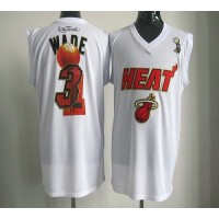 2012 NBA Finals Heat #3 Dwyane Wade White Stitched NBA Jersey