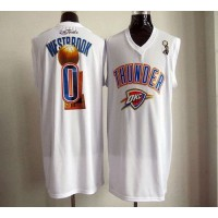 2012 NBA Finals Thunder #0 Russell Westbrook White Stitched NBA Jersey