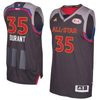 2017 All-Star Western Conferenc Golden State Warriors #35 Kevin Durant Charcoal Stitched NBA Jersey