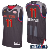 2017 All-Star Western Conference Golden State Warriors #11 Klay Thompson Charcoal Stitched NBA Jersey