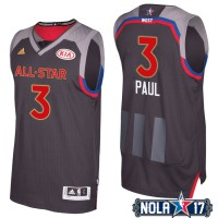 2017 All-Star Western Conference Los Angeles Clippers #3 Chris Paul Charcoal Stitched NBA Jersey