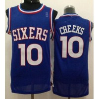 76ers #10 Maurice Cheeks Blue Throwback Stitched NBA Jersey