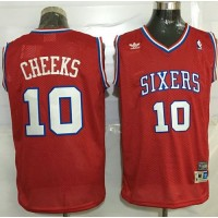 76ers #10 Maurice Cheeks Red Throwback Stitched NBA Jersey