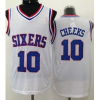 76ers #10 Maurice Cheeks White Throwback Stitched NBA Jersey