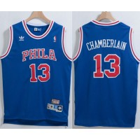 76ers #13 Wilt Chamberlain Blue Throwback Stitched NBA Jersey