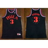 76ers #3 Allen Iverson Black 1964 Throwback Stitched NBA Jersey