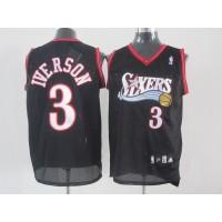 76ers #3 Allen Iverson Black Stitched NBA Jersey