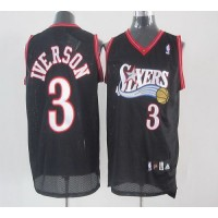 76ers #3 Allen Iverson Black Stitched Youth NBA Jersey