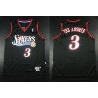 76ers #3 Allen Iverson Black Throwback The Answer Stitched NBA Jersey