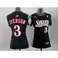 76ers #3 Allen Iverson Black Women's Alternate Stitched NBA Jersey