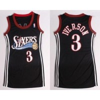 76ers #3 Allen Iverson Black Women's Dress Stitched NBA Jersey