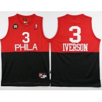 76ers #3 Allen Iverson BlackRed Nike Throwback Stitched NBA Jersey