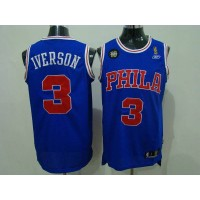 76ers #3 Allen Iverson Blue Reebok 10TH Throwback Stitched NBA Jersey