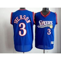 76ers #3 Allen Iverson Blue Stitched Throwback NBA Jersey