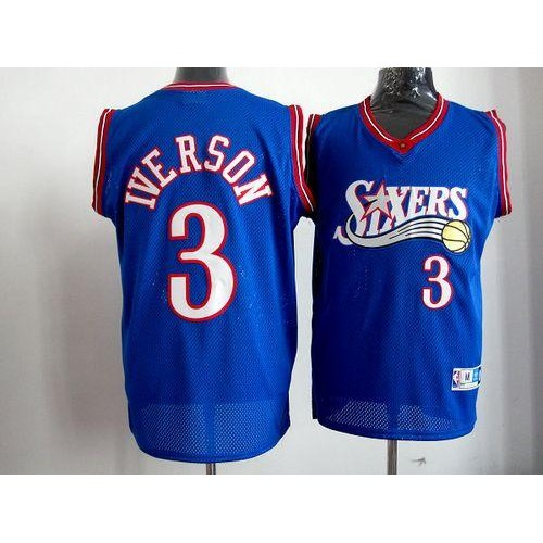 76ers  3 Allen Iverson Blue Stitched Throwback NBA Jersey 8552d099e