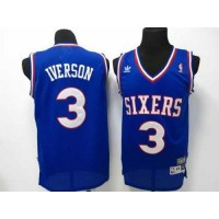 76ers #3 Allen Iverson Blue Throwback Stitched NBA Jersey