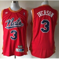 76ers #3 Allen Iverson Nats Throwback Red Stitched NBA Jersey