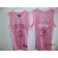 76ers #3 Allen Iverson Pink Women Fashion Stitched NBA Jersey
