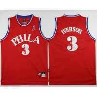 76ers #3 Allen Iverson Red 1964 Throwback Stitched NBA Jersey