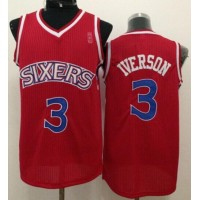 76ers #3 Allen Iverson Red New Throwback Stitched NBA Jersey