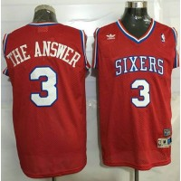 76ers #3 Allen Iverson Red Throwback The Answer Stitched NBA Jersey