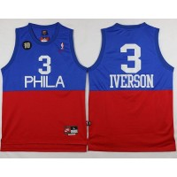 76ers #3 Allen Iverson RedBlue Nike Throwback Stitched NBA Jersey