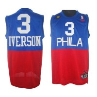 76ers #3 Allen Iverson RedBlue Reebok 10TH Throwback Stitched NBA Jersey