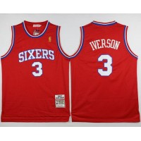 76ers #3 Allen Iverson Stitched Red NBA Jersey