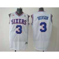 76ers #3 Allen Iverson White Stitched Throwback NBA Jersey