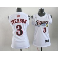 76ers #3 Allen Iverson White Women's Home Stitched NBA Jersey