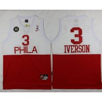 76ers #3 Allen Iverson WhiteRed Nike Throwback Stitched NBA Jersey