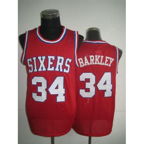 pretty nice fd9d6 fe5a5 76ers #34 Charles Barkley Red Throwback Stitched NBA Jersey
