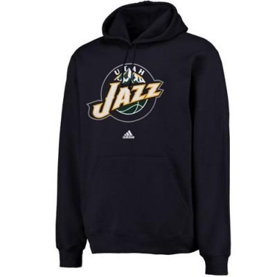 Adidas Utah Jazz Logo Pullover Hoodie Sweatshirt Navy