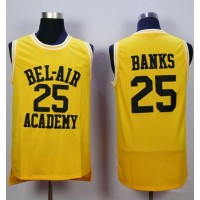 Bel-Air Academy #25 Banks Gold Stitched Basketball Jersey