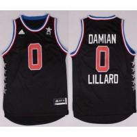 Blazers #0 Damian Lillard Black 2015 All Star Stitched NBA Jersey