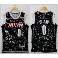 Blazers #0 Damian Lillard Black City Light Stitched NBA Jersey