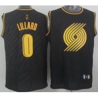 Blazers #0 Damian Lillard Black Precious Metals Fashion Stitched NBA Jersey