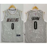Blazers #0 Damian Lillard Grey City Light Stitched NBA Jersey