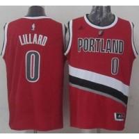 Blazers #0 Damian Lillard Red Stitched NBA Jersey
