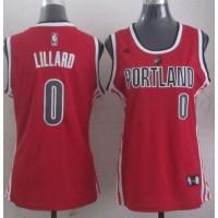 Blazers #0 Damian Lillard Red Women's Alternative Stitched NBA Jersey