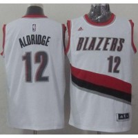 Blazers #12 LaMarcus Aldridge Stitched White NBA Jersey