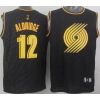 Blazers #12 Lamarcus Aldridge Black Precious Metals Fashion Stitched NBA Jersey