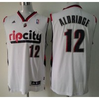 Blazers #12 Lamarcus Aldridge White Throwback Stitched NBA Jersey